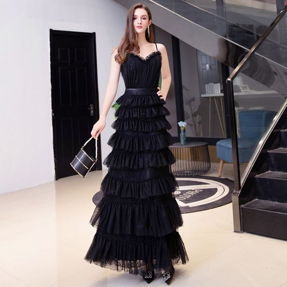 Chic / Beautiful Black Holiday Evening Dresses  2020 A-Line / Princess Spaghetti Straps Sleeveless Sash Floor-Length / Long Cascading Ruffles Backless Formal Dresses