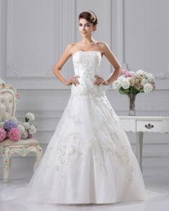 Eleganter Stickerei Sicke Strapless Bodenlangen Satin A Linie Hochzeitskleid
