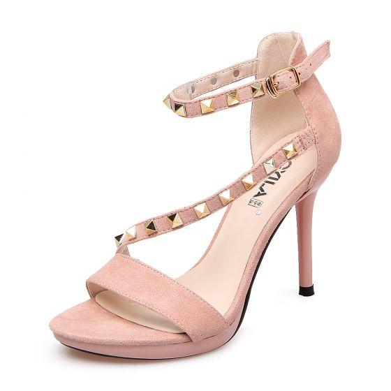 Sexy Prom Pumps 2017 PU Suede Buckle Stiletto Heels Open / Peep Toe Pumps