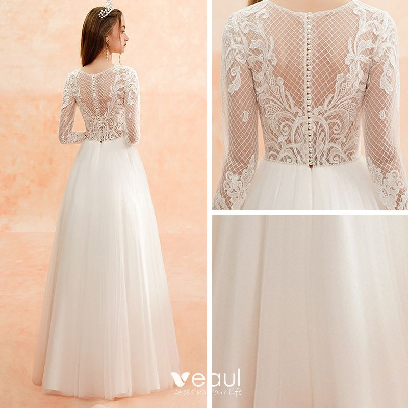 Illusion Ivory Beach Pierced Wedding Dresses 2019 Sheath Fit Scoop Neck Long Sleeve Appliques Lace Floor Length Long Ruffle