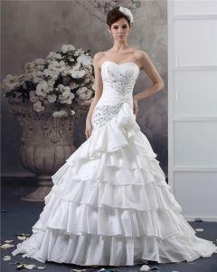 Alskling Beading Golv Langd Taft Balklänning Brudklänningar Bröllopsklänningar