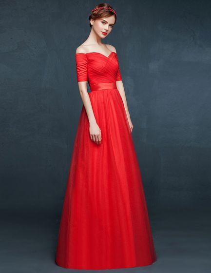 2015 V-neck 1/2 Sleeve Off The Shoulder Red Prom Dress Ball Dress