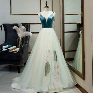 Classy Jade Green Evening Dresses  2019 A-Line / Princess Spaghetti Straps Sleeveless Suede Backless Floor-Length / Long Formal Dresses