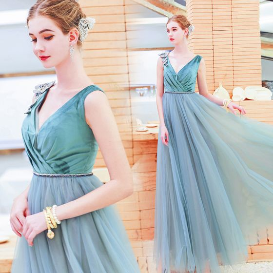 Chic / Beautiful Jade Green Evening Dresses  2019 A-Line / Princess Suede V-Neck Rhinestone Sleeveless Backless Floor-Length / Long Formal Dresses