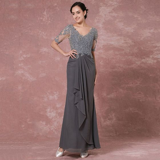 Chic / Beautiful Grey Mother Of The Bride Dresses 2018 Trumpet / Mermaid Lace Sequins V-Neck Backless 1/2 Sleeves Ankle Length Wedding Party Dresses