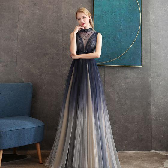 Illusion Navy Blue Gradient-Color See-through Evening Dresses  2020 A-Line / Princess High Neck Sleeveless Beading Sash Floor-Length / Long Ruffle Formal Dresses
