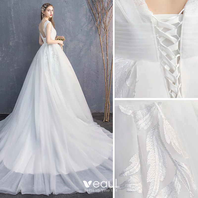 Chic / Beautiful White Wedding Dresses 2019 A-Line / Princess V-Neck Lace Flower Sleeveless Backless Cathedral Train