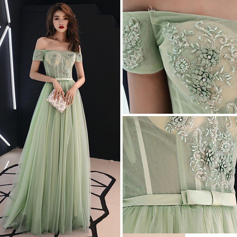 Elegant Sage Green Prom Dresses 2019 A-Line / Princess Off-The-Shoulder Lace Flower Appliques Beading Rhinestone Bow Short Sleeve Floor-Length / Long Formal Dresses