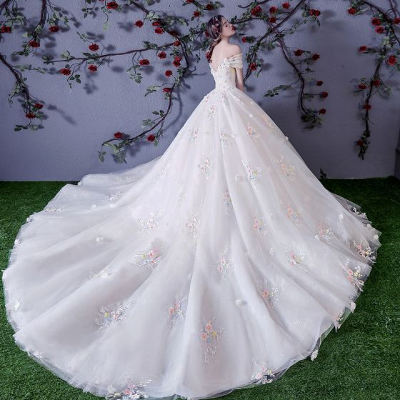 bba6dd27ed Chic / Beautiful White Wedding Dresses 2018 Ball Gown Multi-Colors  Appliques Pearl Off-The-Shoulder Backless Sleeveless Cathedral Train Wedding