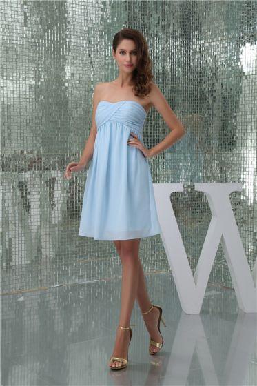 Charming Sweetheart Pleated Sky Blue Short Bridesmaid Dresses