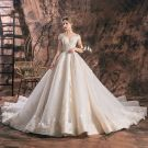 Chic / Beautiful Champagne Wedding Dresses 2019 A-Line / Princess Off-The-Shoulder Deep V-Neck Short Sleeve Backless Appliques Lace Beading Chapel Train Ruffle