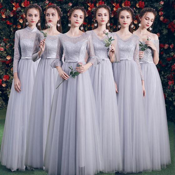 Asequible Gris Vestidos De Damas De Honor 2019 A-Line / Princess Bowknot Cinturón Largos Ruffle Sin Espalda Vestidos para bodas
