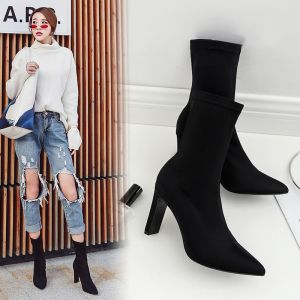 High-end Modest / Simple Black Street Wear Womens Boots 2020 Leather Suede 8 cm Stiletto Heels Pointed Toe Boots