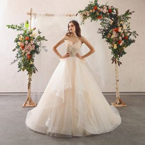 Charming Champagne Wedding Dresses 2020 A-Line / Princess Spaghetti Straps Beading Sequins Lace Flower Sleeveless Backless Bow Cascading Ruffles Court Train
