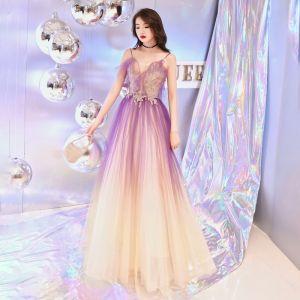 Elegantes Lila Degradado De Color Vestidos de noche 2019 A-Line / Princess V-Cuello Spaghetti Straps Sin Mangas Rebordear Largos Ruffle Sin Espalda Vestidos Formales