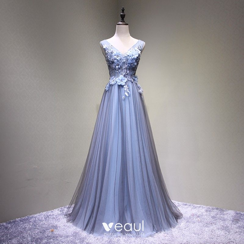 a11aa0a54b4 Chic   Beautiful Grey Prom Dresses 2018 A-Line   Princess Lace Flower  Appliques Crystal V-Neck Backless ...