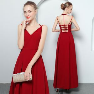 Modern / Fashion Red Evening Dresses  2018 A-Line / Princess Spaghetti Straps Sleeveless Ankle Length Ruffle Backless Formal Dresses
