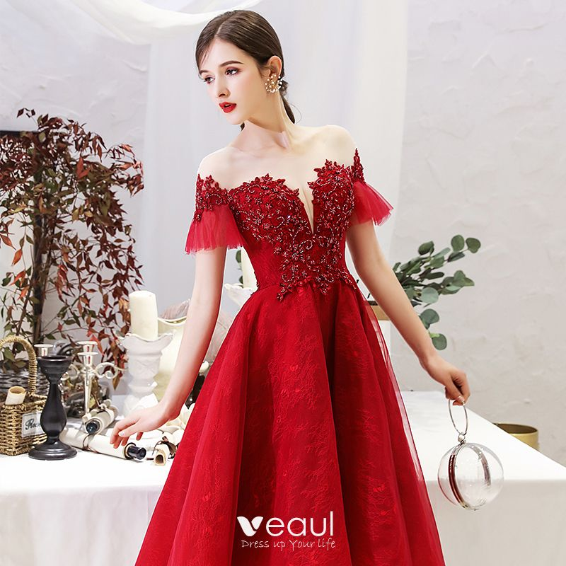 Chic / Beautiful Burgundy Homecoming Graduation Dresses 2019 A-Line / Princess Scoop Neck Beading Crystal Lace Flower Short Sleeve Backless Knee-Length Formal Dresses