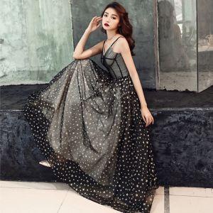 Elegant Black Prom Dresses 2019 A-Line / Princess Spaghetti Straps Sleeveless Glitter Star Floor-Length / Long Ruffle Backless Formal Dresses