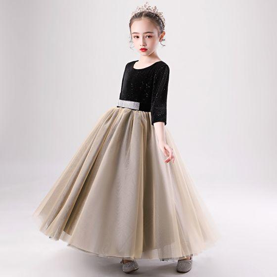 Dos colores Negro Marrón Cumpleaños Vestidos para niñas 2020 Ball Gown Scoop Escote 1/2 Ærmer Glitter Poliéster Rhinestone Cinturón Largos
