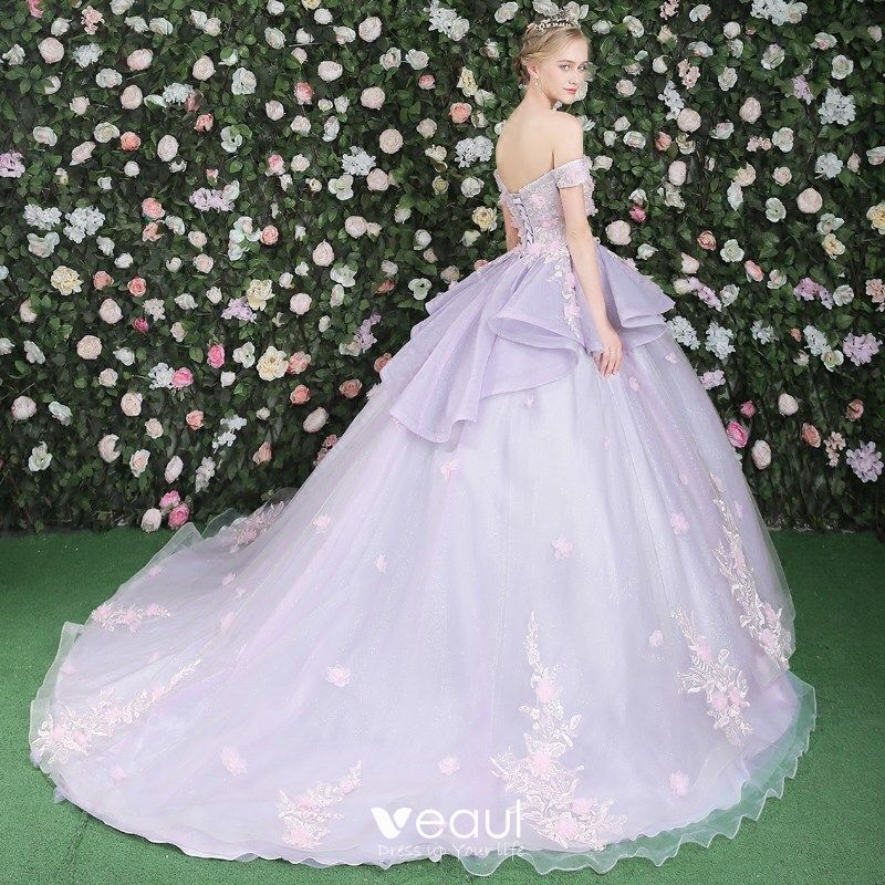Classic Prom Dresses 2017 Lace Appliques Flower Backless Off-The-Shoulder Short Sleeve Chapel Train Lilac Prom Ball Gown