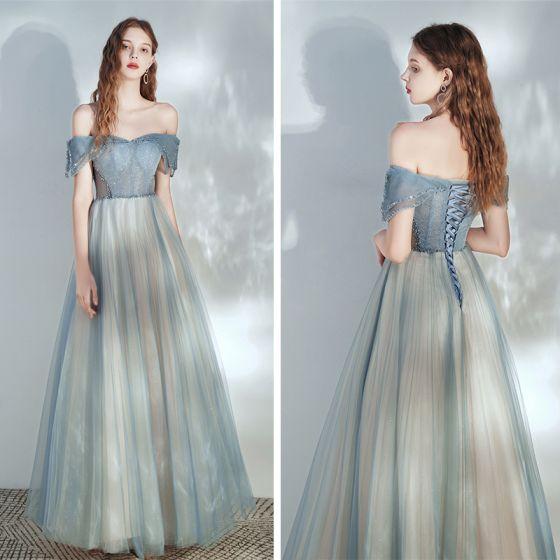 Eleganckie Ciemnoniebieski Szampan Taniec Sukienki Na Bal 2020 Princessa Przy Ramieniu Kótkie Rękawy Frezowanie Cekinami Tiulowe Długie Wzburzyć Bez Pleców Sukienki Wizytowe