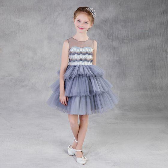 Moda Plata Transparentes Vestidos para niñas 2018 A-Line / Princess Scoop Escote Sin Mangas Apliques Flor Tassel Cortos Volantes En Cascada Vestidos para bodas