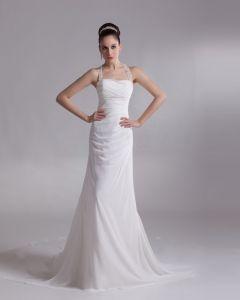 Shoulder Straps Ruffle Applique Floor Length Chiffon Empire Wedding Dress