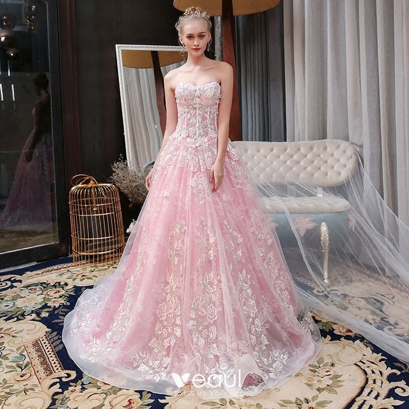 Chic / Beautiful Candy Pink Wedding Dresses 2018 A-Line / Princess Lace Appliques Beading Sequins Sweetheart Backless Sleeveless Cathedral Train Wedding
