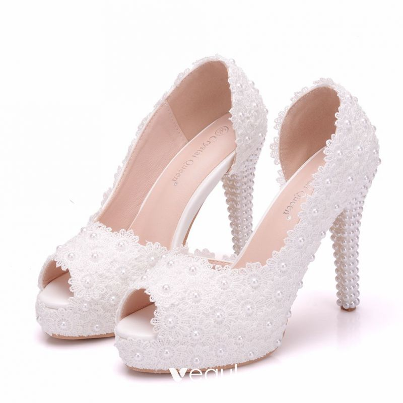 Chic / Beautiful White Wedding Shoes 2018 Lace Pearl 11 Cm