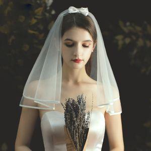 Proste / Simple Krótkie Kość Słoniowa Welony Ślubne 2020 1 m Tiulowe Ślub