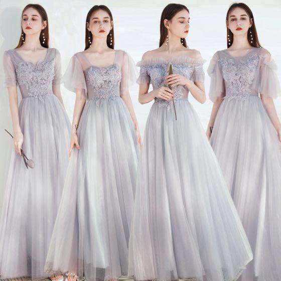 Modest / Simple Grey Bridesmaid Dresses 2021 A-Line / Princess Square Neckline Beading Lace Flower Short Sleeve Backless Floor-Length / Long Wedding Party Dresses