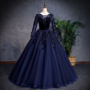 Elegant Navy Blue Prom Dresses 2019 A-Line / Princess Scoop Neck Beading Pearl Suede Flower Long Sleeve Floor-Length / Long Formal Dresses