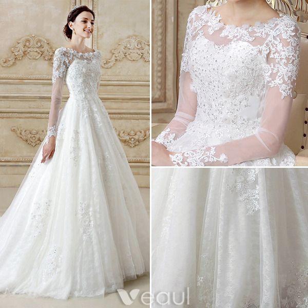Wunderschönen Hochzeitskleider 2016 A-linie Spitzen Rückenfreies Tüll Brautkleid Mit Langen Ärmeln