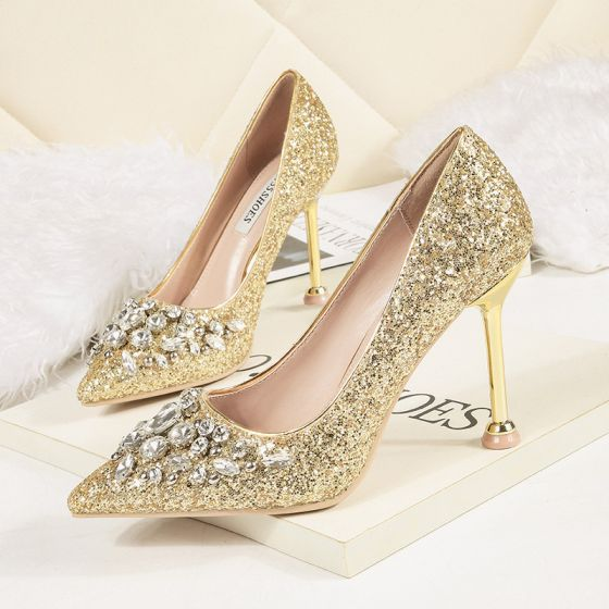 Sparkly Gold Evening Party Pumps 2020 Rhinestone Sequins 9 cm Stiletto Heels Pointed Toe Pumps