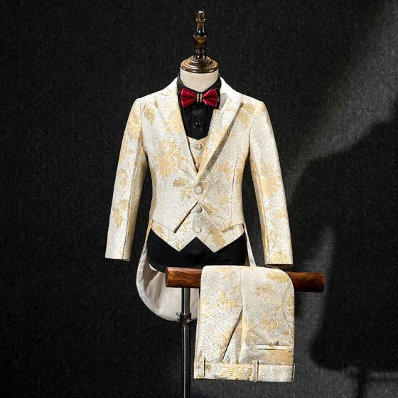 Champagne Gold Embroidered Tailcoat / Tuxedo Coat Burgundy Tie Boys Wedding Suits 2019