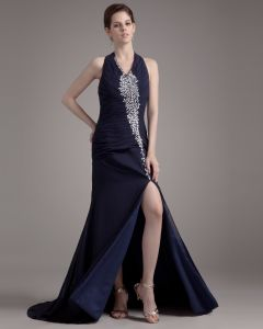 Halter Beading Ruffle Floor Length Chiffon Woman Prom Dress
