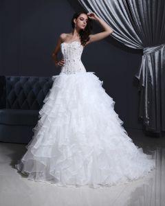 Tulle Organza De Perle De Fleur De Robe De Mariée A-ligne