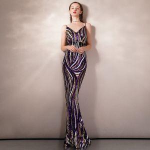 Sexig Multi-Färger Paljetter Aftonklänningar 2020 Prinsessa Spaghettiband Ärmlös Långa Halterneck Formella Klänningar