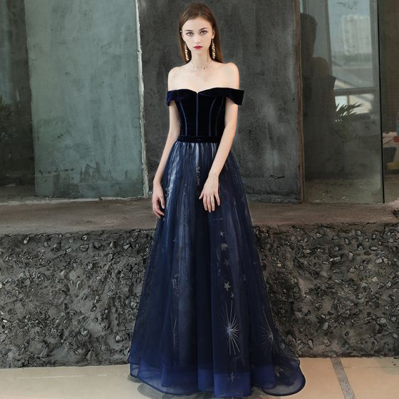 Chic / Beautiful Navy Blue Prom Dresses 2019 A-Line / Princess Off-The-Shoulder Short Sleeve Glitter Star Court Train Ruffle Backless Formal Dresses