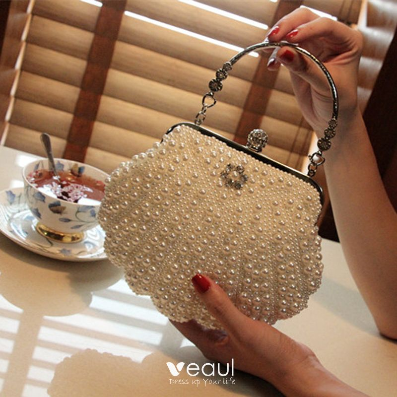 Luxury / Gorgeous 2017 White Yellow Leaf Pearl Leatherette Evening Party Outdoor / Garden Clutch Bags
