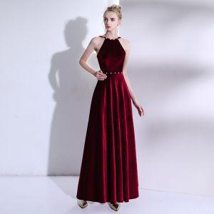 Modern / Fashion Burgundy Floor-Length / Long Evening Dresses  2018 A-Line / Princess Charmeuse Backless Beading Formal Dresses