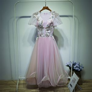 Lovely Candy Pink Wedding Party Dresses Bridesmaid Dresses 2017 Lace Flower Scoop Neck Short Sleeve Ankle Length A-Line / Princess