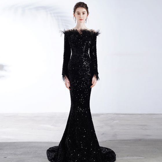 Sparkly Black Sequins Evening Dresses  2020 Trumpet / Mermaid Off-The-Shoulder Long Sleeve Feather Sweep Train Backless Formal Dresses