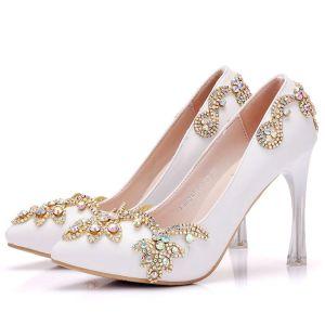 Modern / Fashion White Wedding Shoes 2018 Rhinestone 9 cm Crystal Stiletto Heels Pointed Toe Wedding Pumps