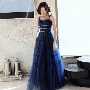 Elegante Königliches Blau Abendkleider 2020 A Linie Spaghettiträger Ärmellos Pailletten Glanz Tülle Lange Rüschen Rückenfreies Festliche Kleider