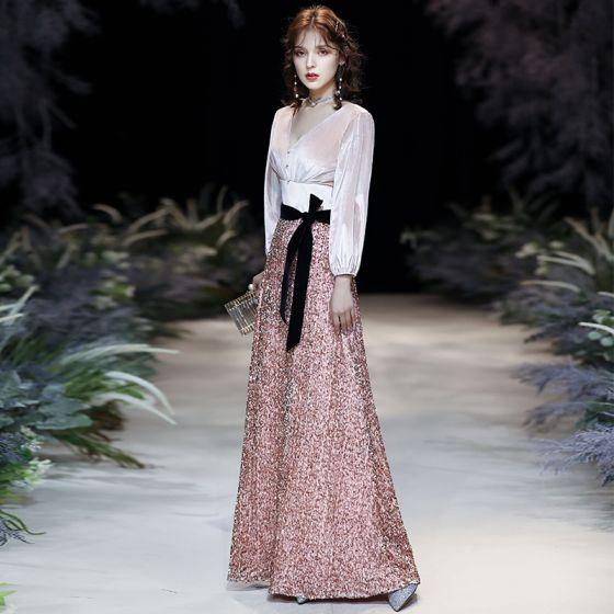 Sparkly Candy Pink Sequins Evening Dresses  2020 A-Line / Princess V-Neck Bow Long Sleeve Backless Floor-Length / Long Formal Dresses