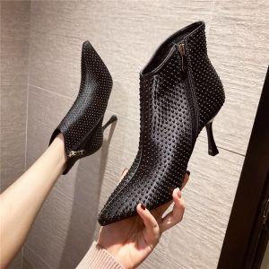 Mooie / Prachtige Zwarte Straatkleding Enkellaarsjes / Enkellaarzen Dames Laarzen 2020 9 cm Naaldhakken / Stiletto Spitse Neus Laarzen