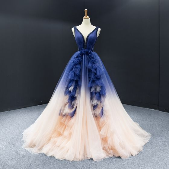 High-end Royal Blue Champagne Pageant Evening Dresses  2020 A-Line / Princess Deep V-Neck Sleeveless Backless Beading Court Train Ruffle Formal Dresses