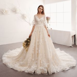 Elegant Ivory Wedding Dresses 2019 A-Line / Princess V-Neck Puffy 1/2 Sleeves Backless Appliques Lace Beading Pearl Cathedral Train Ruffle